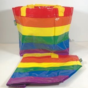 NWT Set of Two 2 Ikea Rainbow Carry All bags Small